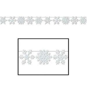 Glittered Snowflake Streamer Winter Christmas Party Decoration