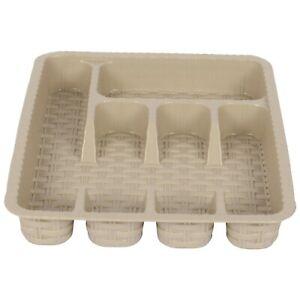 Kitchen Drawer Organizer. Cutlery Tray for Drawer. (5 Compartment) (Beige)