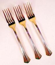 3 Golden Flair Dinner Forks Fork International Stainless Gold Electroplate 18-8