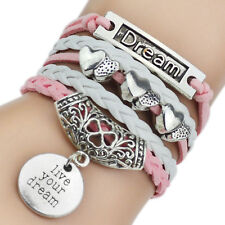 Pink Leather Bracelets with Love Hearts,Dream and Live Your Dream Charm