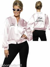 Womens Grease Pink Ladies Jacket Fancy Dress Costume 50s Hen Party Adult Outfit Medium Size 12-14