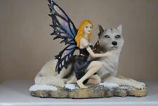 Elfe mit weissem Wolf Fantasy Figur Fairy Mystik Gothic Fee