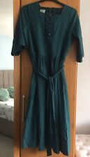 Laura Ashley Vintage 100% Cotton Green Spotted Prairie Dress With Belt Size 16
