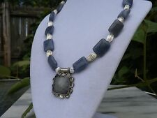 """18"""" Handmade Blue Agate Necklace with Matching Pendant"""