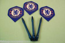Chelsea Darts Flights and Blue Aluminium Stems