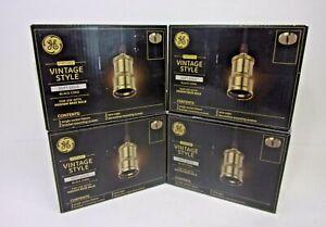 New GE Vintage Style Light Bulb Pendant Socket Fixture Soft Gold Lot of 4
