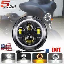DOT 7 inch Round LED Headlight H4 Projector for Yamaha Roadstar V Star Vmax 1200