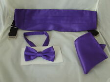 TOP's DEAL>PURPLE Polyester Bow Tie + Cummerbund & Hankie Set>P&P 2UK>1st Class