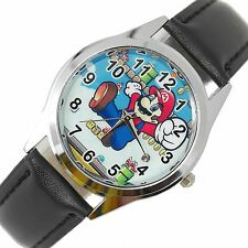 SUPER MARIO BROS VIDEO GAME PLUMBER HERO BLACK LEATHER VIDEO GAME STEEL WATCH