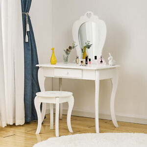 Kids Dressing Table Set, Girls Vanity Table Mirror,  Drawers and Stool Children