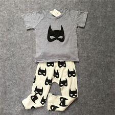 NWT Cool Baby Boy 2 Piece BATMAN Bat Pants & Shirt Top with Hat Cotton Set 6M