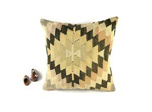 Vintage Kilim Pillow Cover 20x20 Decorative Turkish Rug Cushion Cover A2806