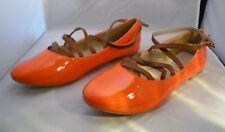 Mesdames JOLYVIA Talon Plat Orange Patent Chaussure pompe avec marron bretelles UK 3 EU 36