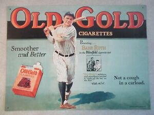 VINTAGE 1990 OFFICIAL REPRODUCTION BABE RUTH OLD GOLD CIGARETTES METAL SIGN