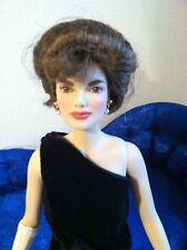 "Franklin Mint Jackie 16""Vinyl Doll in Black Sheath Gown w/Earrings~NO Stand"