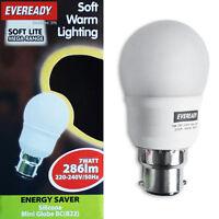 10x Eveready 7w=30w BC B22 Bayonet Cap Warm White Energy Saving Globe Light Bulb