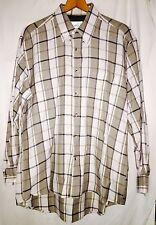 Arnold Palmer Mens Brown Gray White Plaid Checkered Shirt 16-161/2 L LS Button