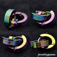2 Pairs Stainless Steel Hoop Earrings Set Huggie Earrings for Women Men