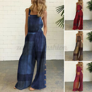 Women Backless Sexy Dungarees Sleeveless Long Overalls Ladies Wide Leg Jumpsuits