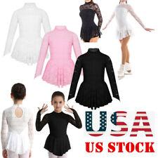 Us Girl Ice Skating Lace Dress Kid Ballet Leotard Long Sleeve Dance Wear Costume