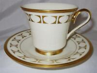Lenox China, TEMPO, Gold Geometric Shapes On Rim, Footed Cup & Saucer Set