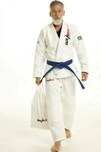 White Bjj Gi- Mens Brazilian JiuJitsu Gi Uniform with free Belt and Bag |Bravo