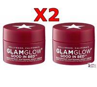 2x GLAMGLOW Good in Bed Moisturizer Night Treatment Travel Size MINI .34oz Total