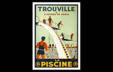 Vintage Art Deco SWIMMING AND DIVING Trouville, France 1920s POSTER Reprint