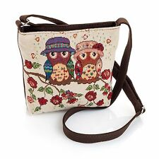 Shoulder bag-small -POUCH-zip PURSE-tapestry OWLS beige brown 30 x 36 cm  £5.99❤