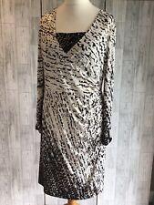 Joseph Ribkoff White,brown & Gold Shimmer Wrap Dress, Diamante Cuff Uk18 VGC