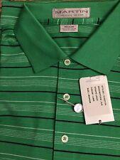 Martin Golf Cotton Striped Polo Shirt / Med /  Lime