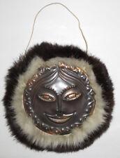 Kupferbild auf Holz Eskimo Fraugesicht, mit Fell