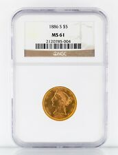1886-S $5 Gold Liberty Half Eagle Graded by NGC as MS-61