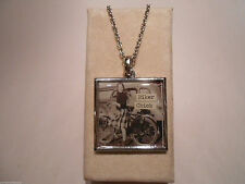 Funny Vintage Photo Two Sided Pendant Necklace BIKER CHICK Chases Boys Bicycle