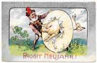New Year Postcard Gnome with a Pig Jumping Through a Hoop~104110