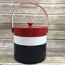 Retired Georges Briard Red White & Blue Striped Ice Bucket Cooler
