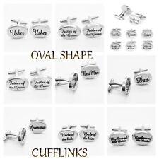 Silver wedding Cufflinks Best man SILVER OVAL mens cufflink usher pageboy