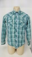 Wrangler 20X Shirt Long Sleeve Button Front Pearl Snaps Plaid Mens Size Medium M