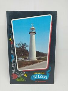 Vintage Greetings From Biloxi In Mississippi Postcard Historic Lighthouse Hwy 90