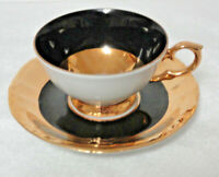 Vintage KAHLA Germany China  DEMI / DEMITASSE CUP & SAUCER - Black & Gold Bands