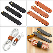 3X Luxury Leather Cable Clips Cord Tie Grip Holder Organizer Clamp Wire Tidy*`