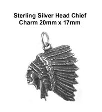 Sterling Silver Head Chief Charm 20mm x 17mm VT-SS-0869