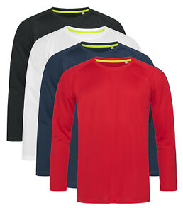 Mens ACTIVE-DRY Breathable Polyester Long Sleeve Wicking Sports T-Shirt Tshirt