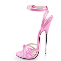 Women 16cm Super High Heel Shoes Sexy Peep Toe Strappy Hollow Stilettos Sandals