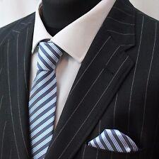 Tie Cravatta Con Fazzoletto Blu & Bianco