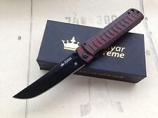 Kizlyar Supreme Whisper (D2 BK Titanium, Red/Black G10) Folding Russian Knife.