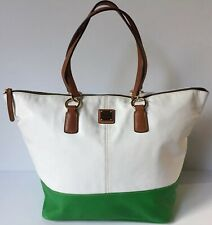 Dooney & Bourke Large Leather Green White Zippered Tote Shopper Weekender Bag