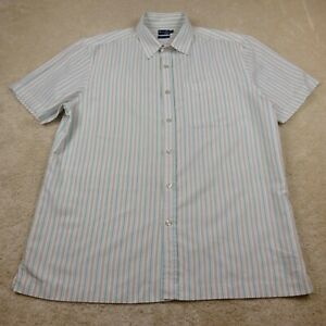 BHS Button Up Shirt Adult Large Blue Casual Soft Touch Pocket Short Sleeve Mens
