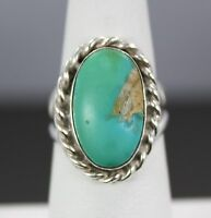 Sterling Silver Cabochon Turquoise with Rope Accent Bezel Ring Size 7