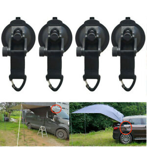 4pcs Heavy Duty Suction Cup Tie Downs w/Hooks Lock Holder for Car Awning Camping